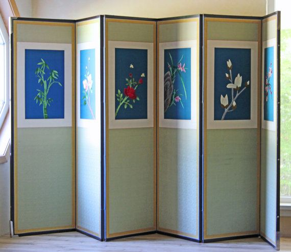 large 6 panel asian screen divider japanese floral pattern on etsy folding doorroom