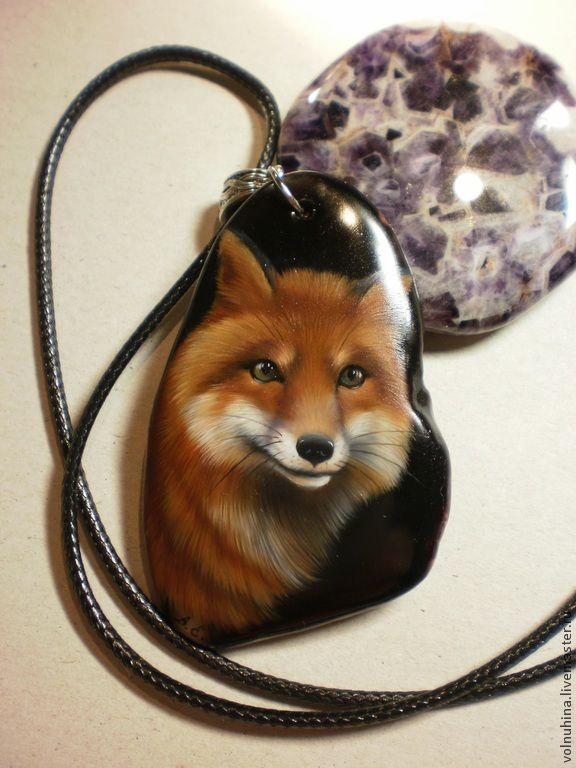 """Кулон """"Лисица"""" отложен - рыжий,лиса,лаковая миниатюра,животное,Живопись"""
