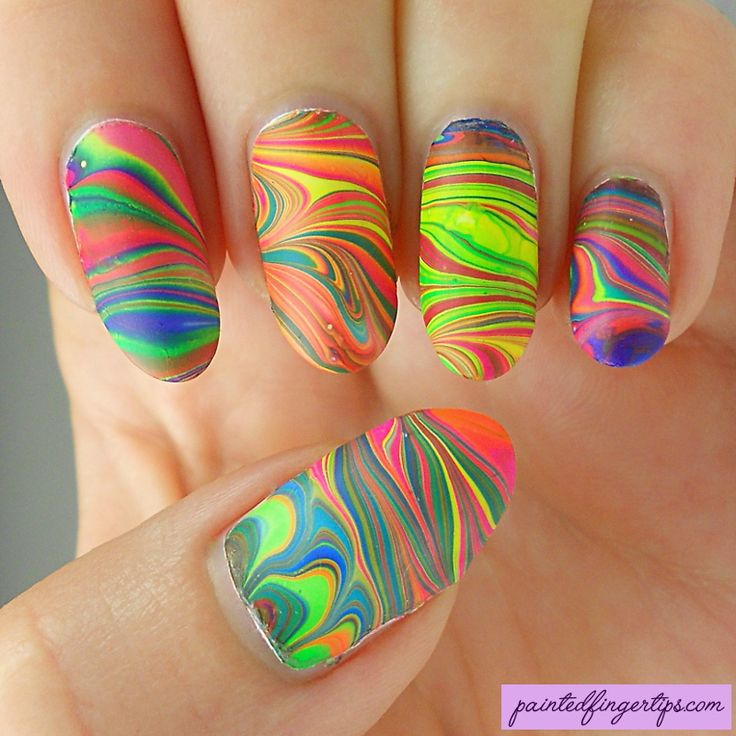 Painted Fingertips | Neon water marble - Sweet & Sour Lacquer Catchphrases collection