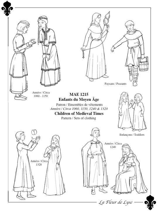 MAE1215 – Medieval Period Children's Sets – circa 1060, 1150, 1240, 1320 – Habillements des enfants du Moyen Âge
