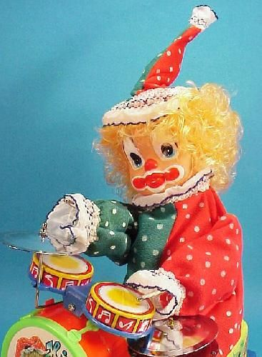 icollect247.com Online Vintage Antiques and Collectables - Cha Cha Beating Drum Clown Battery Operated Toy 1970s