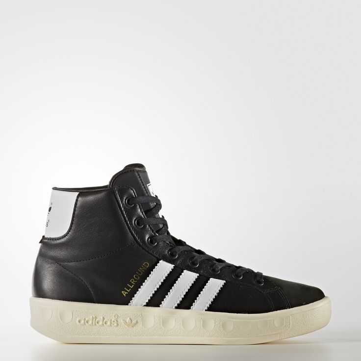 """Inspired by a mid-1970s cross-training shoe and its streetwear reboot, this women's hi top sneaker relaunches an on-trend vintage style. A milled leather upper features serrated 3-Stripes and """"Allround"""" printed in gold foil lettering. Trefoil logos pop up on the tongue and contrast heel patch."""
