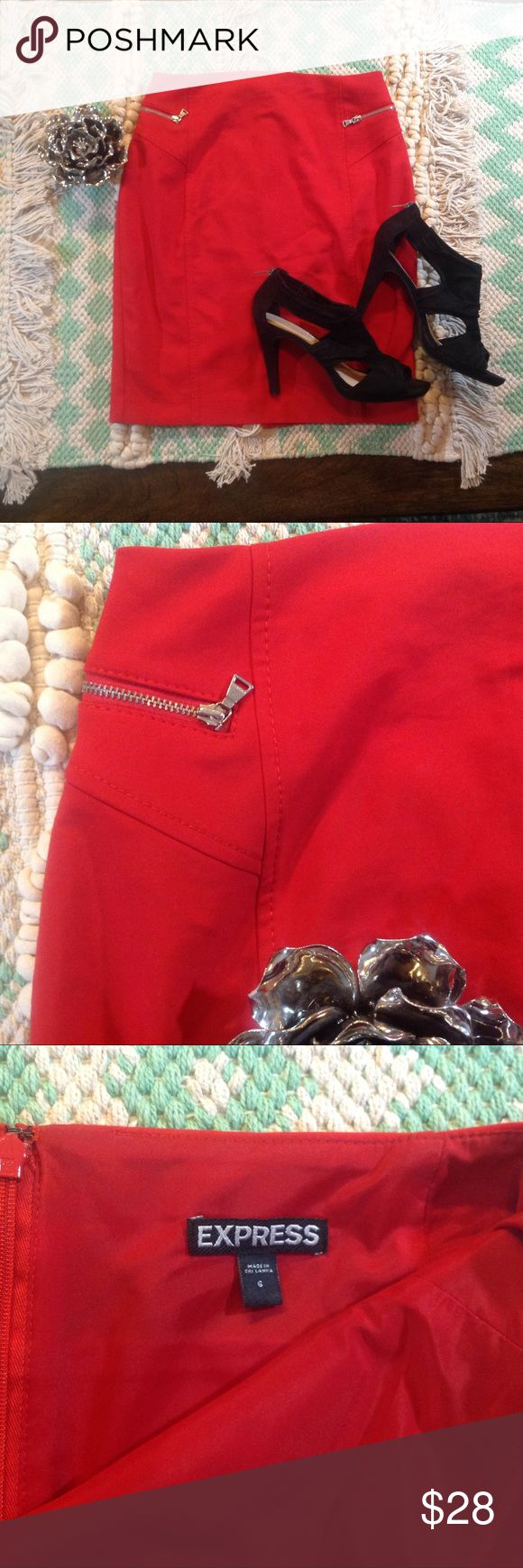 Red Hot Pencil Skirt w/Zippers by Express This is sexy red pencil skirt by Express. There are faux zipper pockets on the front. Great used condition. Size 6. Express Skirts Pencil