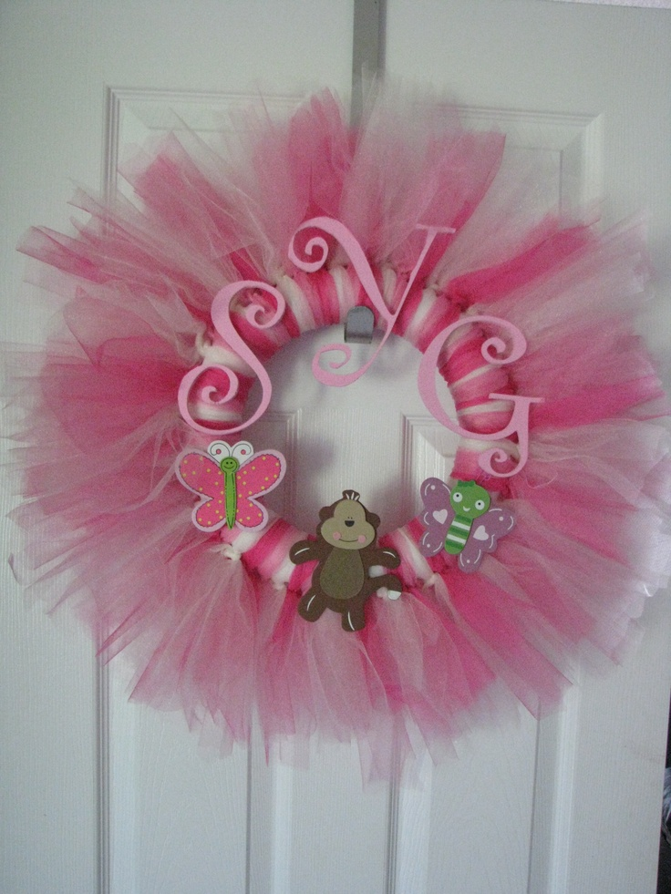 Baby Shower Wreath Images ~ Baby girl tulle wreath shower ideas pinterest