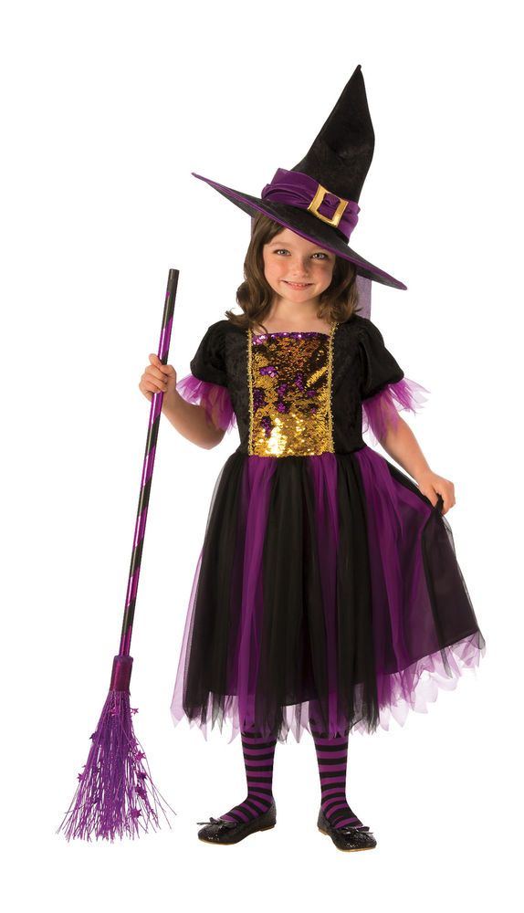 Halloween Witch Tutu /& Hat Headband Costume Fancy Dress Purple Black S Small