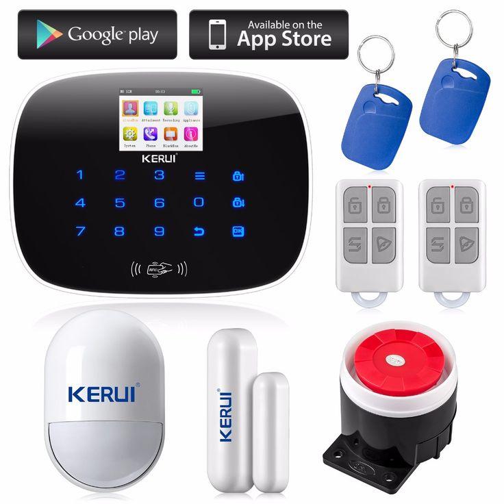 Kerui android ios app 433 mhz gsm menú de interfaz de usuario de pantalla tft en color Sistema de alarma de la Tarjeta SIM llamada de Teléfono sms de Alarma de Seguridad de puerta abierta recordar