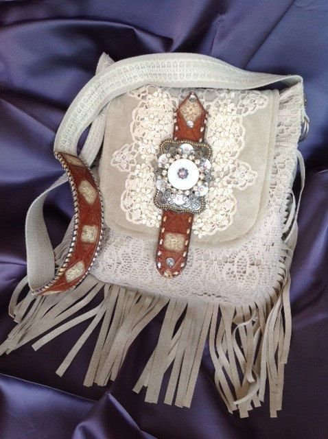 Southwestern+Suede+and+Lace+Shoulder+Purse+by+FruitfullHands