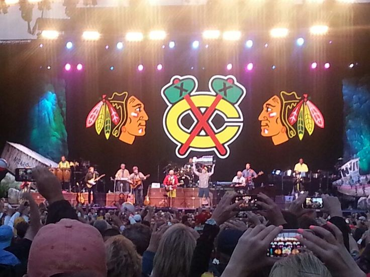 Jimmy Buffett concert at Northerly Island in Chicago. Special guest,  Patrick Kane and the Stanley Cup.
