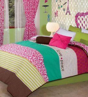 aqua and green comforter twin | New Teens Girls Love Pink White Aqua Fuchsia Green Comforter Bedding
