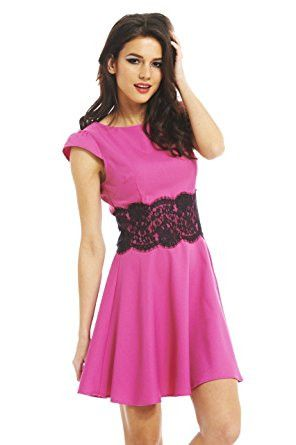 Pink Capped Sleeve Lace Waist Skater Dress