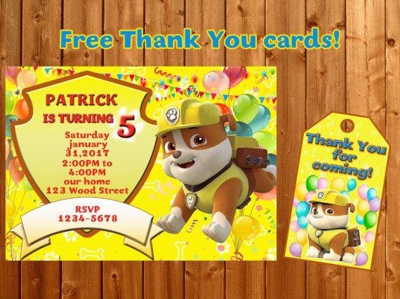 Rubble Paw Patrol invitation  Thank you Paw patrol birthday