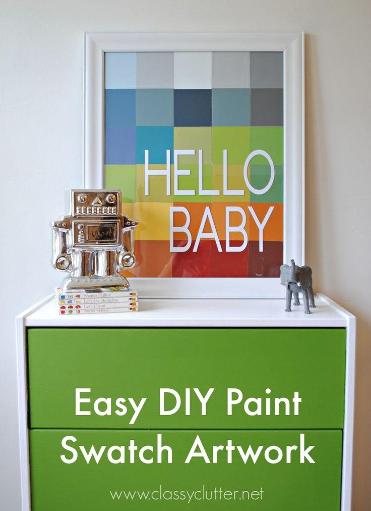DIY Paint Swatch Art - www.classyclutter.net