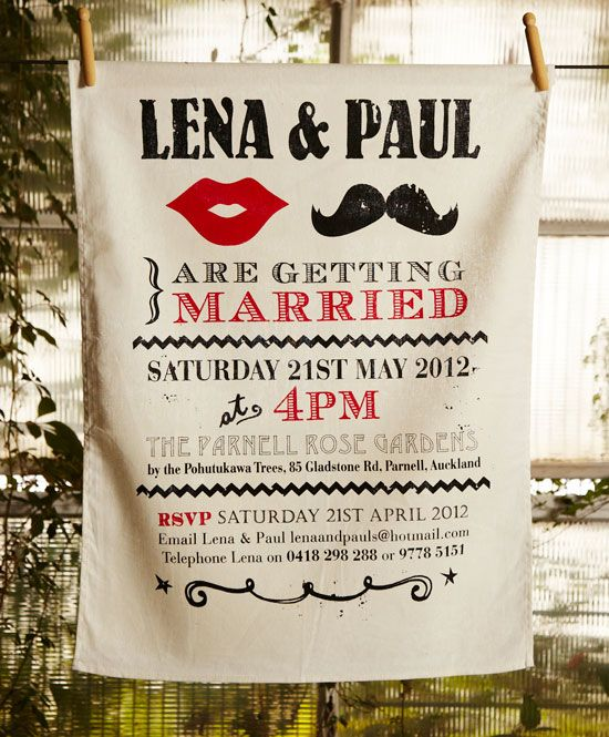 Invitation tea towels This one featuring bright red lips and a
