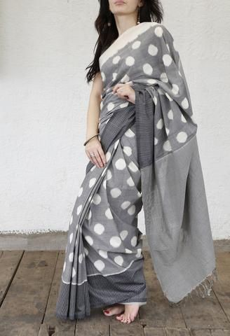 GREY POLKA COTTON SAREE