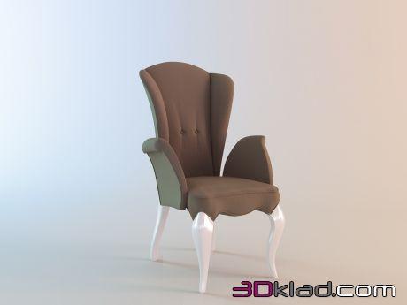 3d модель стул с подлокотниками в стиле арт деко Fratelli Barri