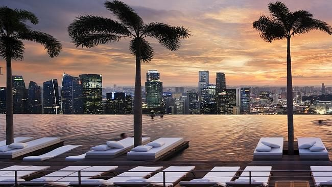 ** Must credit pix to Marina Bay Sands Hotel ** Marina Bay Sands Hotel. Sands Skypark, Singapore.