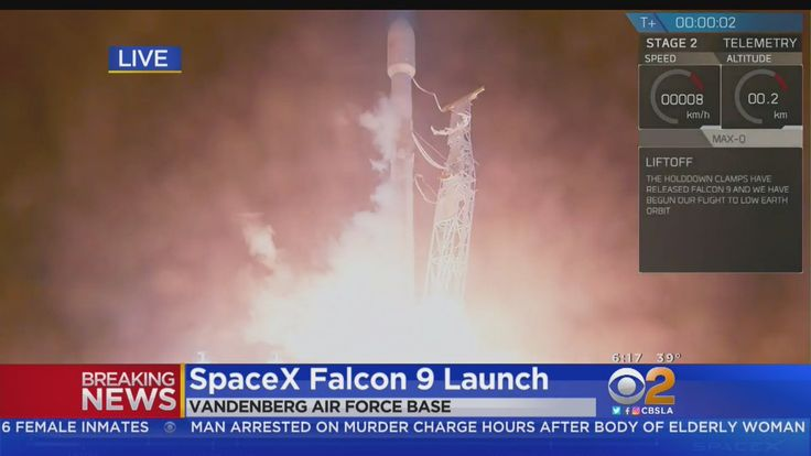 SpaceX launches the Falcon 9 rocket from Vandenberg Air Force Base. The rocket is visible in the skies over Southern California.