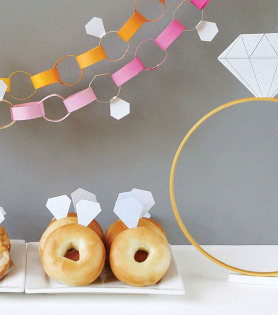 Diamond Themed Bridal Shower: Shower Ideas, Diamonds Theme, Engagement Parties, Diamonds Bridal, Theme Bridal Shower, Diamonds Rings, Donuts, Parties Ideas, Paper Chains