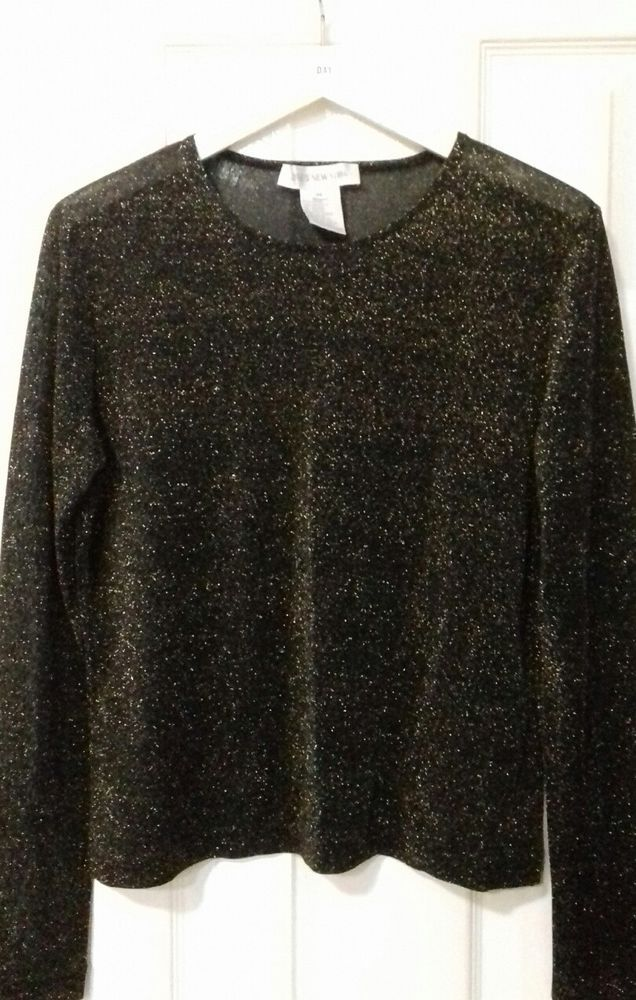 d284752634300 Jones New York black and gold evening top size medium.  fashion  clothing   shoes  accessories  womensclothing  sweaters (ebay link)