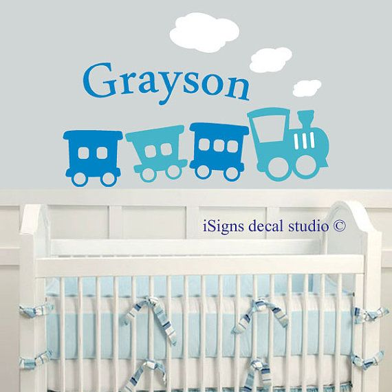 Lovely Train Name Decal Boys Room Decal Kids Room Decal Nursery Train Decal Photo - Contemporary baby room decals Photo