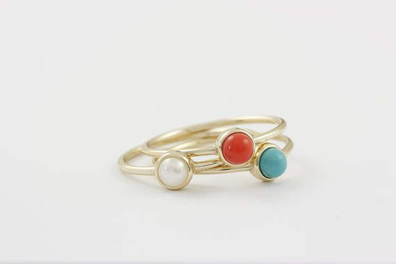 Small Turquoise Silver Ring, Small Coral Silver Ring, Solitaire Stone Ring, Sterling Silver Stone Ring, Gold Fill Pearl Ring, SR0414