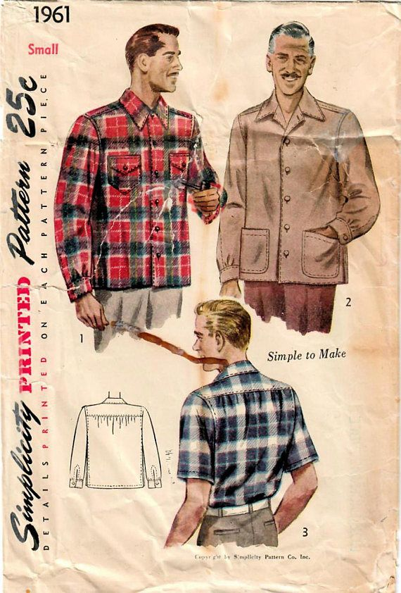 1940s Simplicity 1961 Vintage Sewing Pattern Men S Shirt Jacket Casual Shirt Sport Shirt Size Small Size Medium Hombres Retro Hombres Vintage Costura