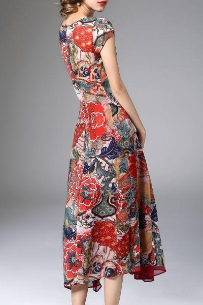 K.y Red High Slit Print Midi Dress With Skirt   Midi Dresses at DEZZAL