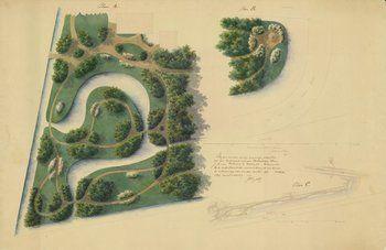 Tekening van diverse ontwerpen van een landschapstuin bij Helomastate te Wolvega. Met situatiekaart.