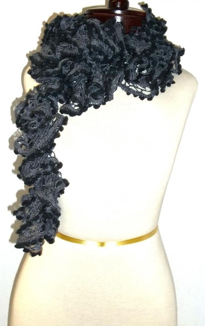 Ruffled Scarf in Charcoal and Black