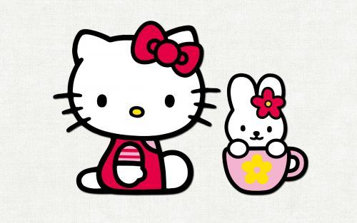 Best Hello Kitty ClipArt No 5 - Kitty and My Melody What a cute clipart it is, featured with picture of Hello Kitty and her friend - My Melody. They look so fun with similar color bow on their head. This clipart is the #5 of the list of best Hello Kitty ClipArt