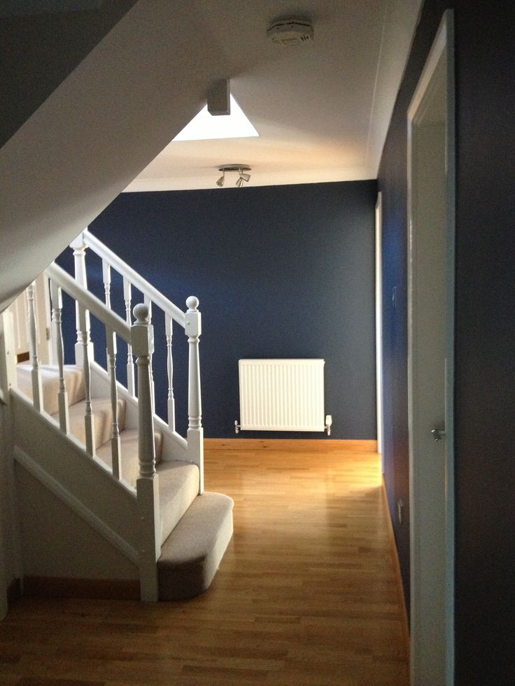 Hallway from the kitchen doorway. Breton Blue with Natural Calico!