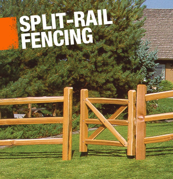 A split-rail fence is constructed using logs that have been split into rails. They're often used for fencing farmland.