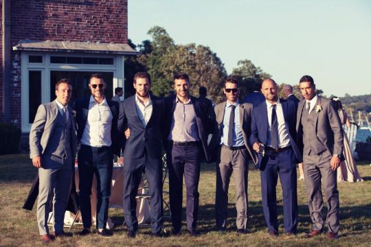 Brad Marchand, Gregory Campbell, Tyler Seguin, Patrice Bergeron, Chad Johnson, Dennis Seidenberg, and Chris Kelly at Brad and Katrina's wedding