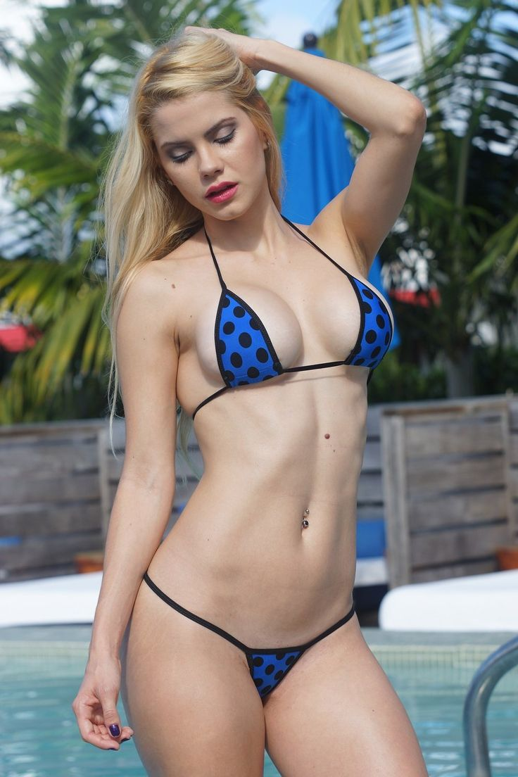 Dark Blue W Black Polka Dots Sexy Micro G-String Bikini 2P -4967