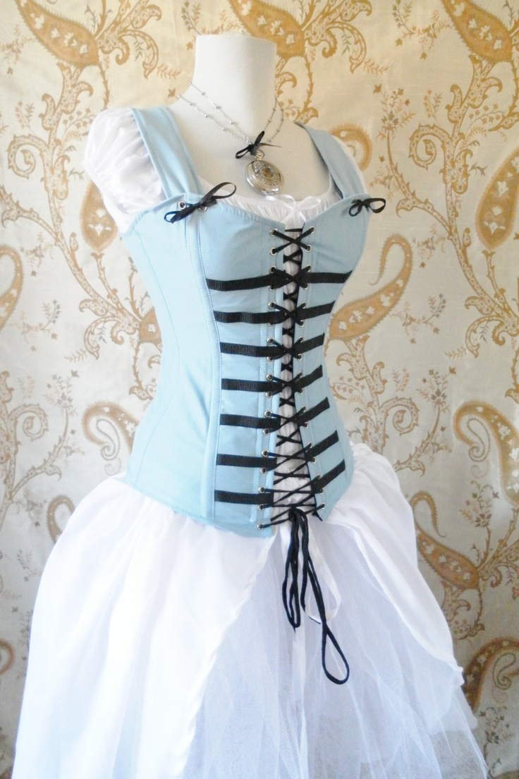 Wow! Alice Corset-Light Blue Corset Only-Made To Your Measurements. $159.00, via Etsy.  Wana see more Wonderland? http://looking-glass-room.com/