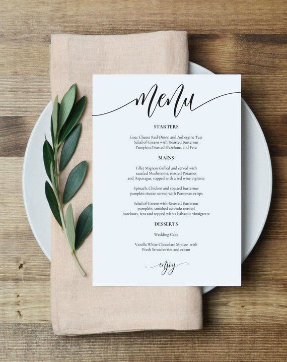 Wedding Menu Template Printable Menu Card 5x7 Wedding Etsy Printable Menu Cards Menu Card Template Wedding Menu Template Printable