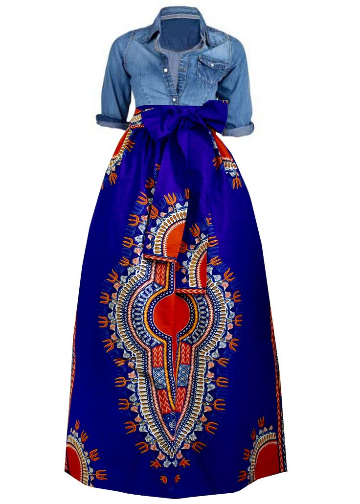 Dashiki African Print Maxi Skirt (Blue/Sunset)