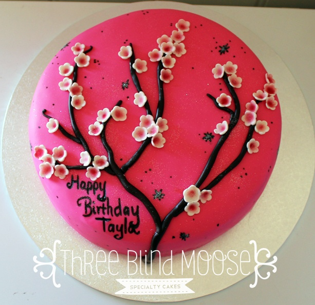 Hot pink cherry blossoms cake. By Three Blind Moose Specialty Cakes, Korumburra.