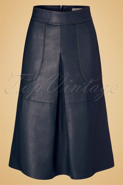 Traffic People - 70s Cathy Leatherette Skirt in Blue