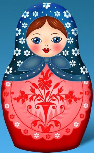 Matryoshka - Russian nesting doll. Vector clip art. #folk #art #Russian #dolls