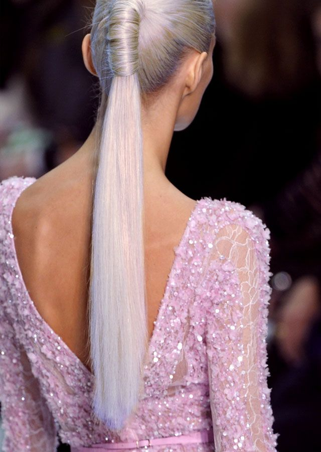 Purple hair: Grey Hair, Pink Sparkle, Elie Saab, Long Hair, Silver Hair, Hair Style, Long Ponytail, Age Grace, Ponies Tail
