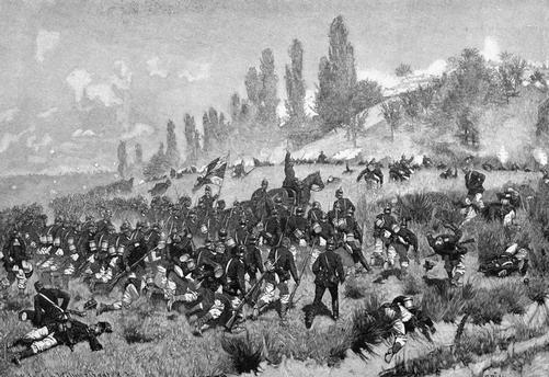 Deutsch-französischer Krieg 1870/71. Erstürmung der Spicherer Höhen bei Saarbrücken am 6. August 1870.