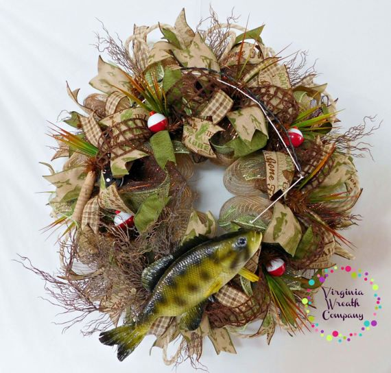 Deco Mesh Fish Wreath Fathers Day Gift Mancave Gift Hunting