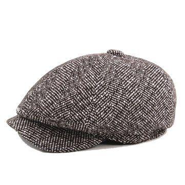 4064db32859 Mens Unisex Vintage Cotton Octagonal Cap Winter Stripe Gentleman Newsboy Beret  Hat