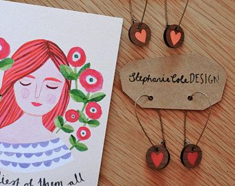Wooden Heart 'Date Night' Round Long Hoop Earrings - Pale pink or Red on Walnut by Stephanie Cole Design on Etsy