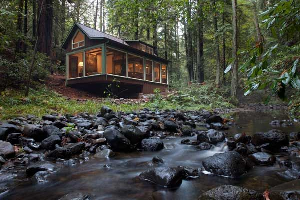 Creekside cabin, Santa Rosa, California - remodel of a 1920s shingle style cabin