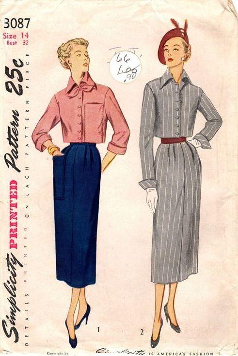 """Simplicity 3087. 1949 Bolero Suit. Bust 32"""". Original. Complete."""