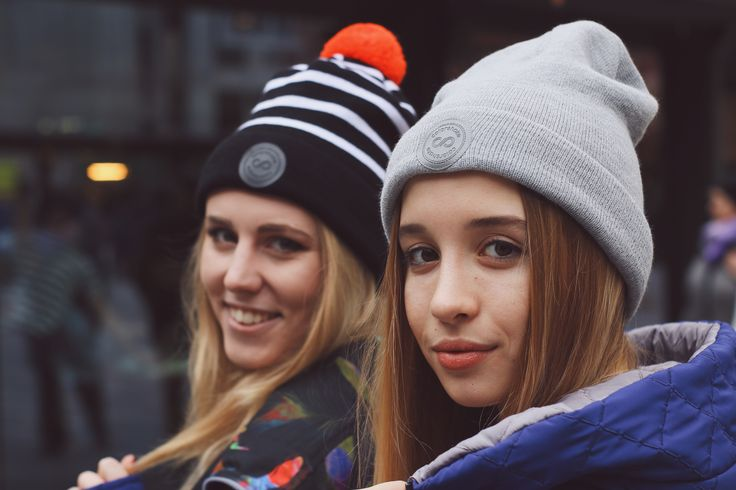Beautful girls in #colorshake beanies! Hat with stripes and neon pompon for Krysia and the classic grey one for Marta