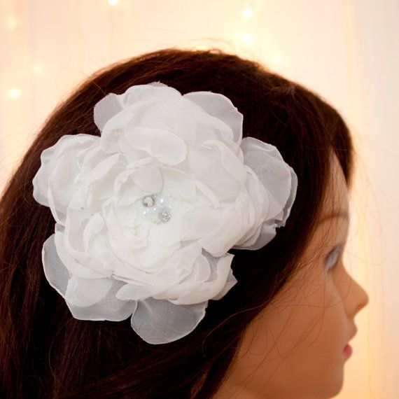 Handmade antique white organza flower, with Alligator clip/pin option. Glass beads, pearls and gems. White flower headpiece. wedding flower