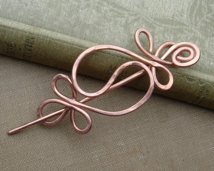 Yin Yang Harmony Copper Shawl Pin / Hair Pin / Scarf Pin /Hair Barrette. $22.00, via Etsy.
